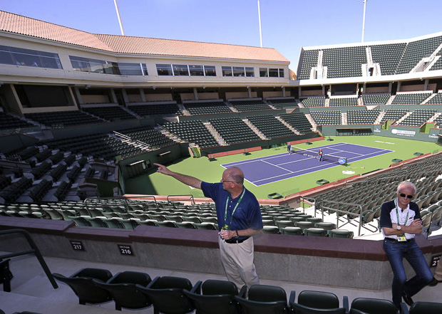 iw - BNP Paribas Open tournament director Steve Simon conducts a tour of the new Stadium 2 at the Indian Wells Tennis Garden. Freelance photo- Rodrigo Pena
